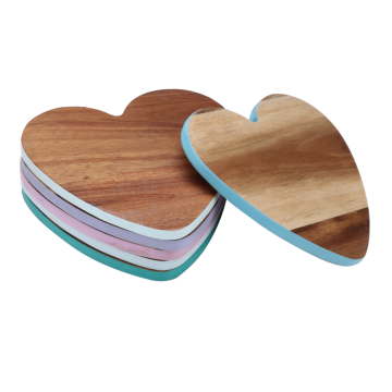 Heart shaped wooden coaster