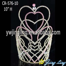 "10"" Pink Rhinestone King Big Pageant Crown"