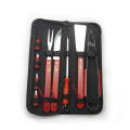 wooden handle bbq tools set in zipper bag