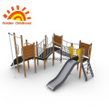Yellow Outdoor Playground House Net Bridge