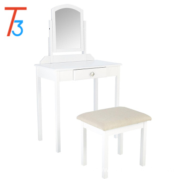 Modern Dressing Table Wood Furniture Design mirrored Dresser with stool