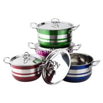 4 piece Colorful Multiclad Stainless Steel Cookware Set