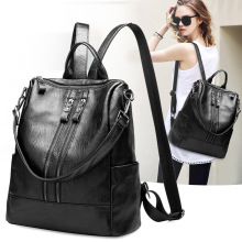 Fashion Women Black PU Leather Backpack