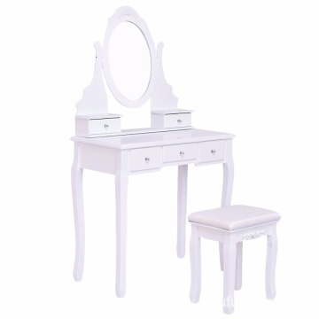Dressing Table Makeup Vanity Table with Stool Set and Mirror