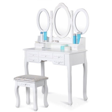 Wooden Vanity Table Makeup set Tri-folding Mirror Dressing Table with 7 Drawers 3 Mirror for Bedroom White