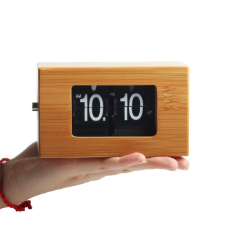 Rectangular Small size bamboo flip clock