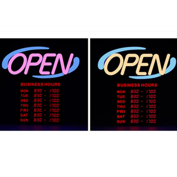 20'' Lighted RGB Open Sign for Business with Hours