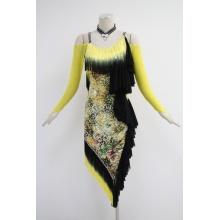 Leading for Girls Latin Dress Yellow latin dance costumes for competition export to Svalbard and Jan Mayen Islands Supplier
