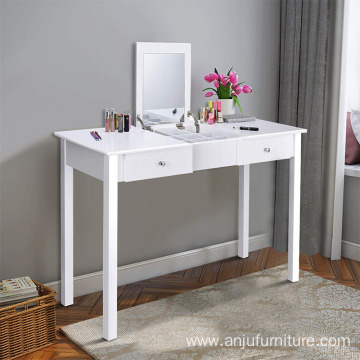 Vanity Dressing Table with Flip Makeup Mirror, Simple Style Multifunctional as Writing Desk with 9 Removable Divider Organizers