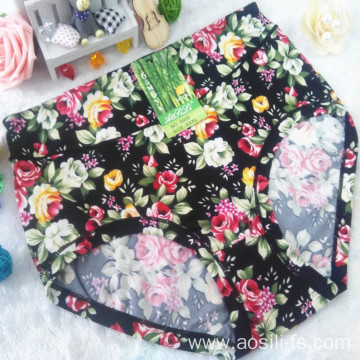 new style China wholesale cheap black printed sexy women little printed flowers bamboo fiber underwear 5668