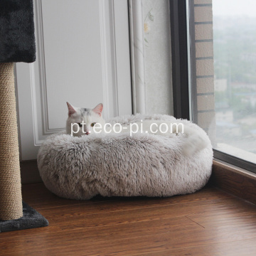 Luxo veludo Fur Donut Cat and Dog Bed