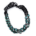 Glass Bead Plastic Weave Stretch Tattoo Choker Necklace