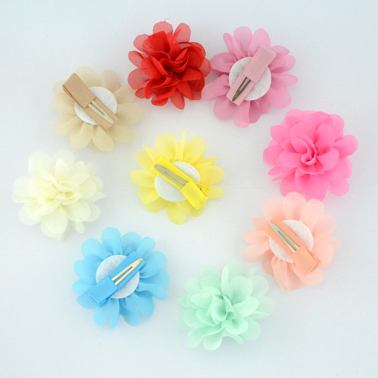 Chiffon flowers with hairpin hair accessories for children (1)