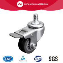 Mini 1.5 Inch 35Kg Threaded Brake PU Caster
