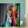 Lion Waterproof Shower Curtain Animal Watercolor Bathroom Decor