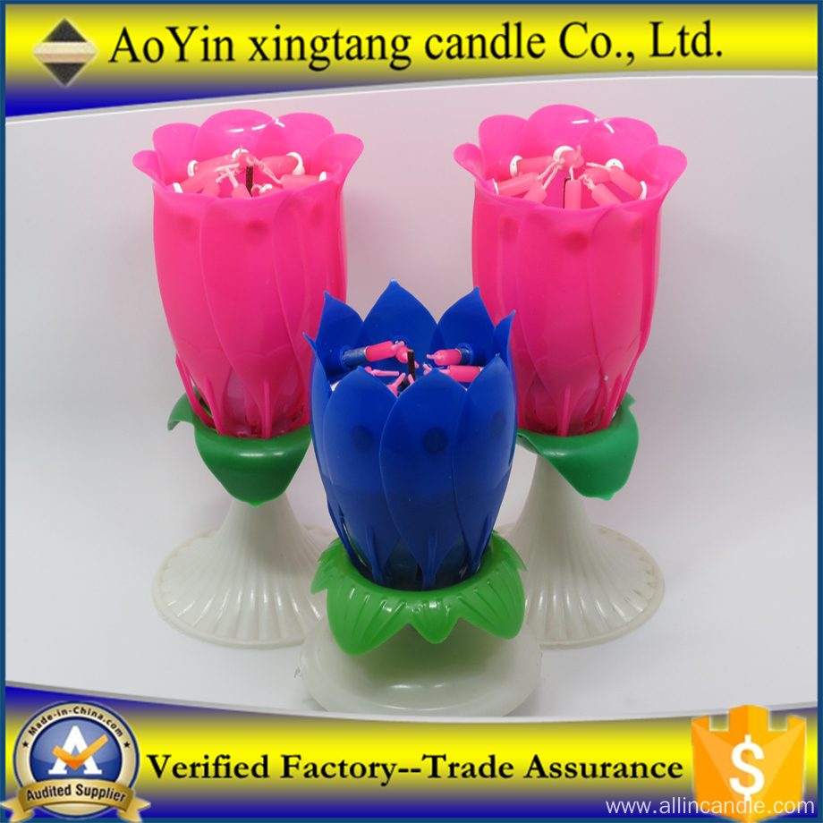 Lotus Flower Fireworks Birthday Candle for Party