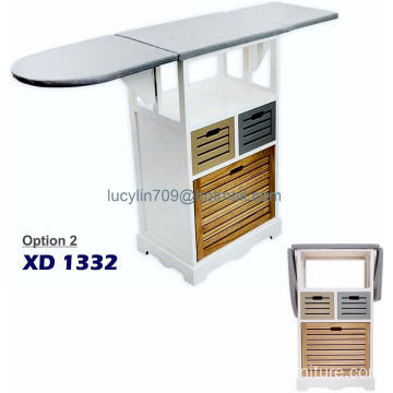 Ironing Board With Storage Cabinet Drawer Unit Folding For Laundry Iron Clothes Large Space Saving