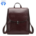 Ladies leather backpack college leisure