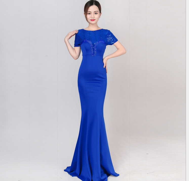 8174 evening dress new fashionable winter show thin company annual banquet banquet hostess dress woman long skirt fish tail