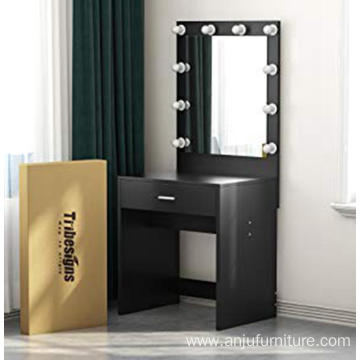 Black Makeup Dresser Desk Dressing Table with LED light and mirror