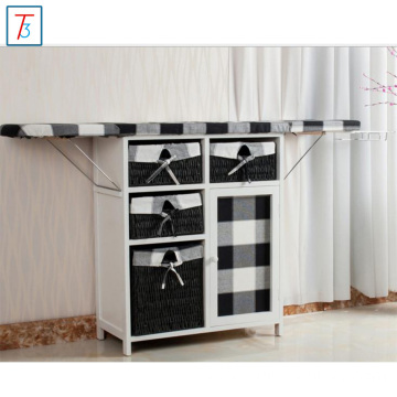 laundry basket living room wood cabinet ironing board
