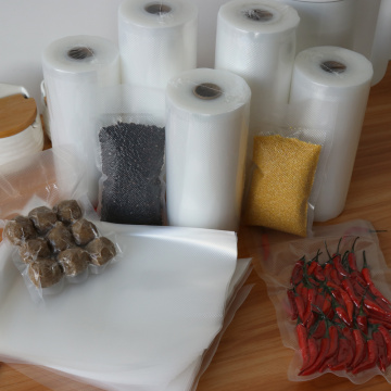 Sous vide textured vacuum sealing plastic bag