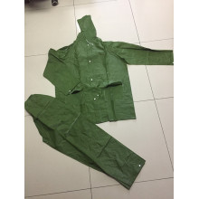 durable army green raincoat with pant