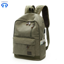 New canvas backpack with USB charging interface