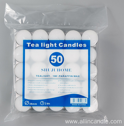 White color tealights white candles uk