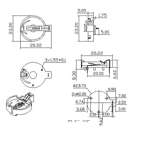 Coin Cell Holders FOR CR2032C BT-S-SN-A-CR2032C