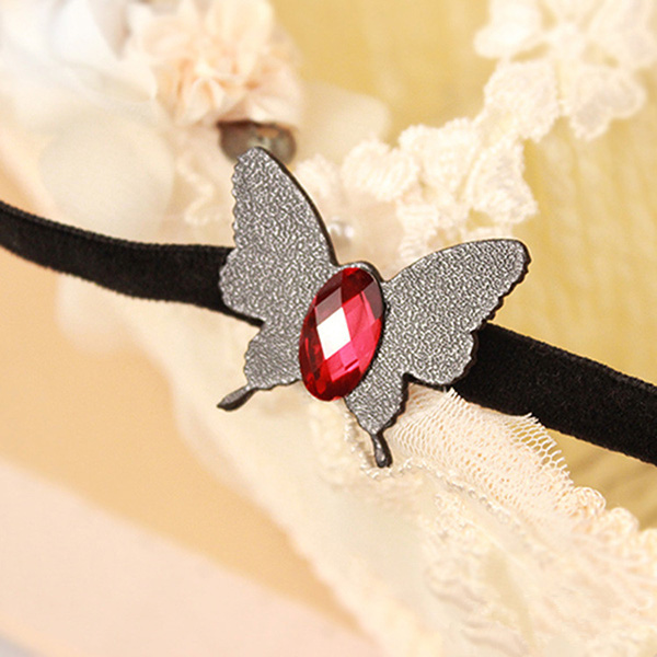 Leg Bracelet Anklet With Leather Butterfly Charm