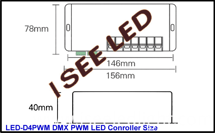 4CH PWM DMX LED Controller dimension