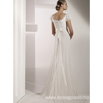 Empire Cathedral Train Chiffon Lace Ribbons Wedding Dress1