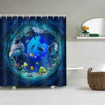 Dolphin Fish Waterproof Shower Curtain Undersea Animal Bathroom Decor