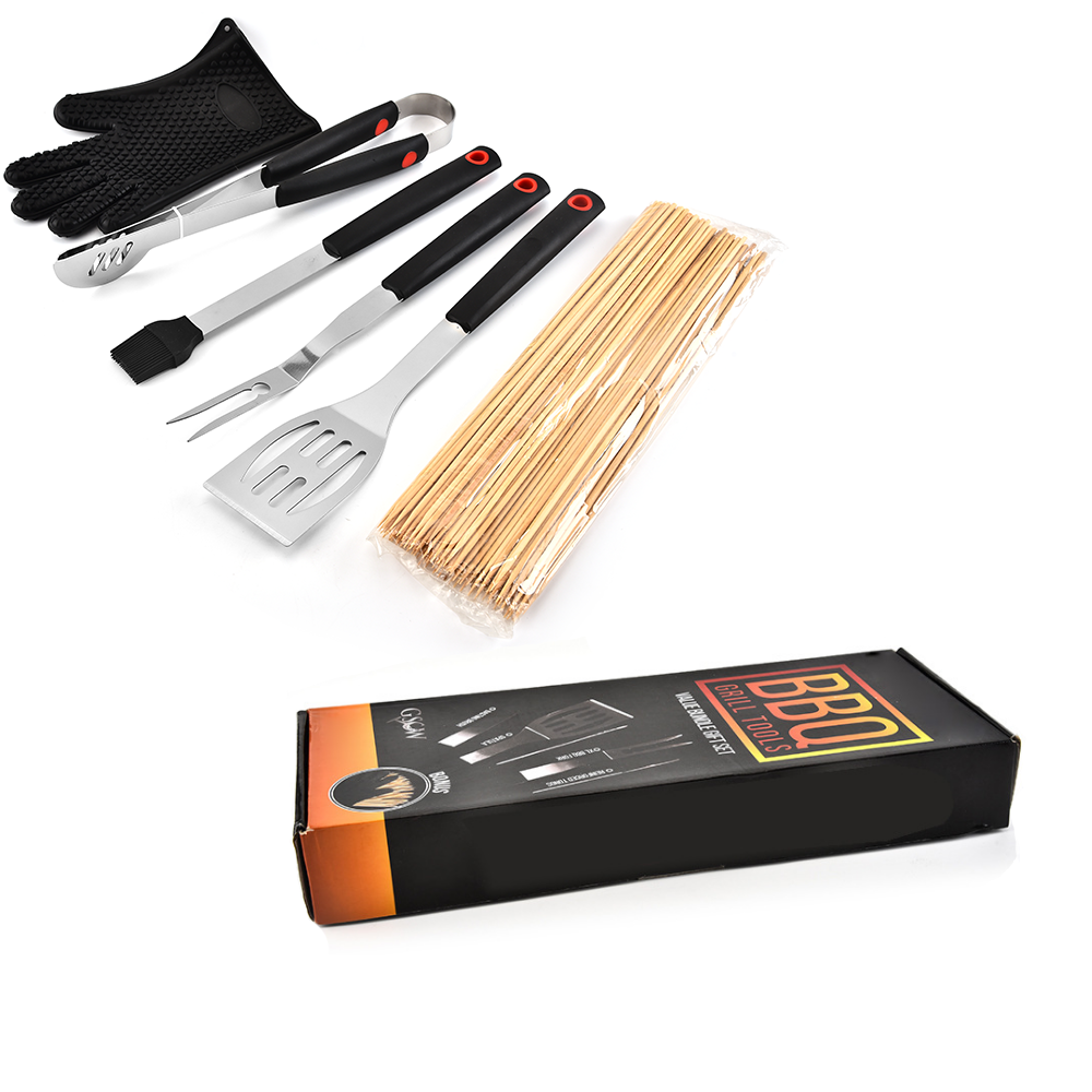 6PCS PP Handle BBQ Set With Color Box