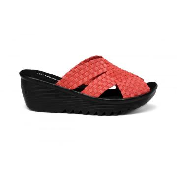 factory low price for Womens Woven Fabrics Upper Slippers Red Elastic Fiber Non-slip Sole Woven Slippers export to Netherlands Factory