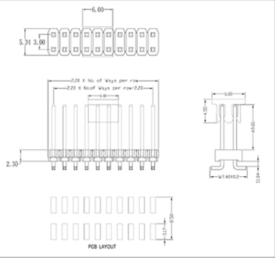 2.2X3.0X2.3mm Pin Header Dual Row SMT Type