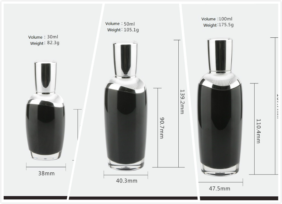 Black acrylic cosmetic dropper bottles