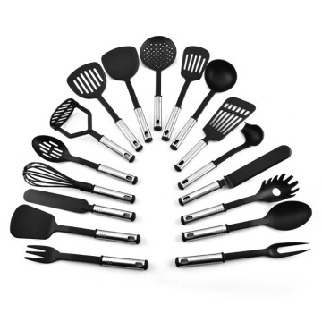 17pcs SS handle kitchen cooking nylon utensil set