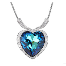 Heart of the ocean crystal heart love necklace pendant
