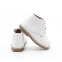White Genuine Leather Girl Boots