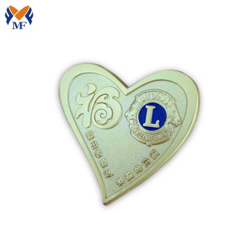Custom gold heart shaped pin badge