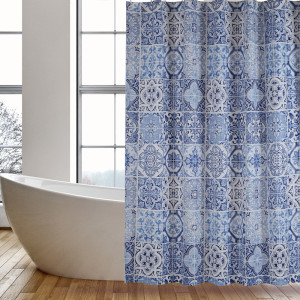 Purchasing for Shower Curtain Peva Shower Curtain PEVA Blue Tile supply to Faroe Islands Importers