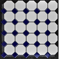 white and blue porcelain mosaic