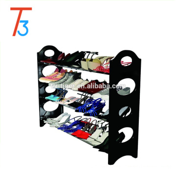 4 tier stackable plastic folding shoe rack