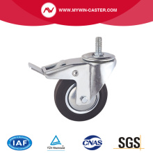 Braked Threaded Stem Swivel Rubber Industrial Caster