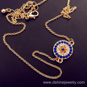 Hot sale for China Rhinestone Alloy Necklace, Handmade Alloy Rhinestone Necklaces, Crystal Pendant factory Gold Plated Crystal Alloy Evil Eye Collar Necklace export to Greece Factory
