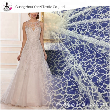 Ivory Tulle Beaded Lace Fabric