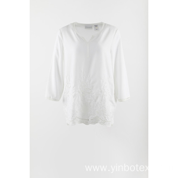 White chiffon embroidery 3/4 sleeve blouse