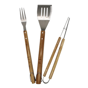 Leading Manufacturer for BBQ Set Wooden Handle 3pcs Barbecue Tools Set supply to South Korea Factories